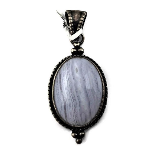 Oval Blue Agate Pendant in Sterling Silver 925