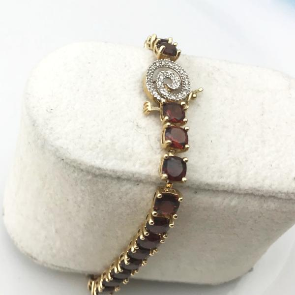 Ladies 14K Yellow Gold Garnet & Diamond Tennis Bracelet 7