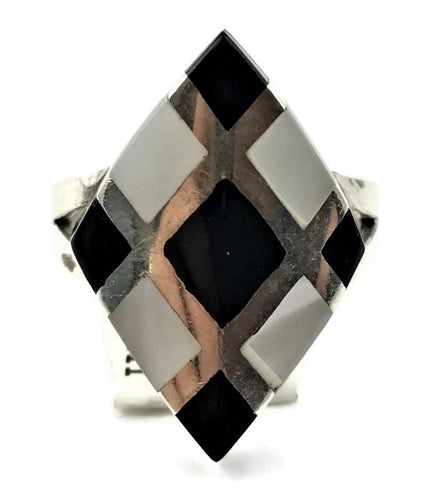 Black Onyx & MOP Ladies Ring in Sterling Silver
