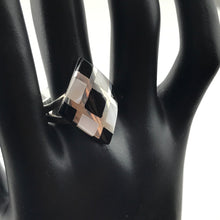 Black Onyx & MOP Ladies Ring in Sterling Silver, New item #v58262