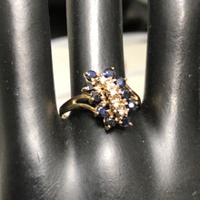 Solid 10K White Gold Natural Sapphire & Diamond Waterfall Design Ring, pre-owned item #273819d