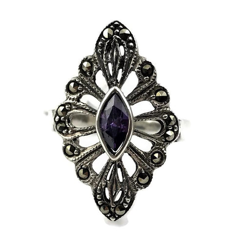 Amethyst Filigree Ring in Sterling Silver