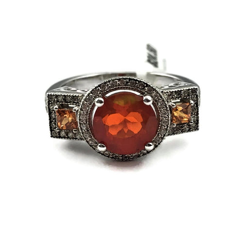 Orange Stone Sterling Silver Ring
