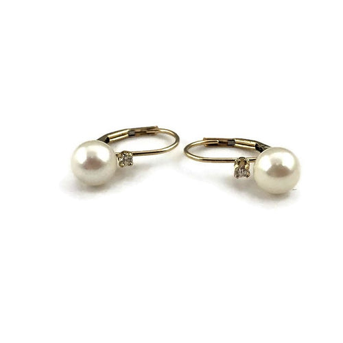 Pearl Earrings in 14K Yellow Gold, pre-owned item #336439C