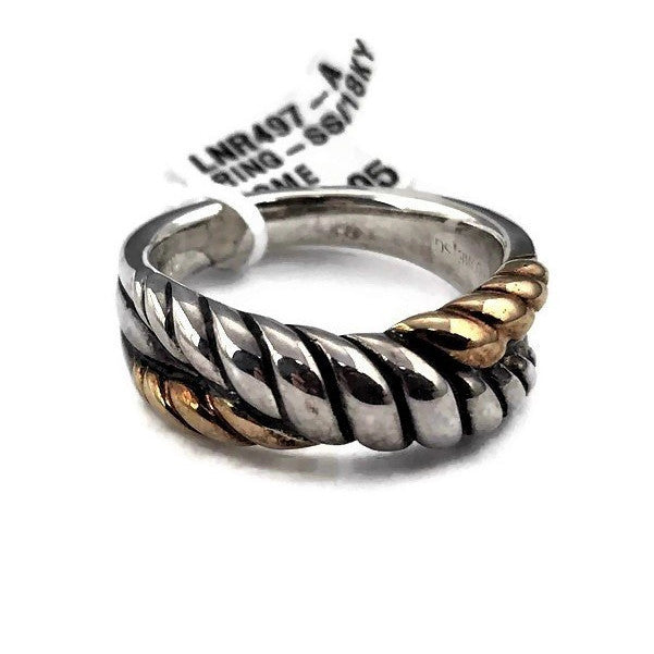 Colore SG  Ring in Sterling Silver and 18K Yellow Gold, New Item #LNR497-A