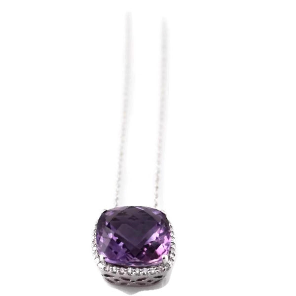 Amethyst and Diamond Pendant in 14K White Gold, New item #PW6647
