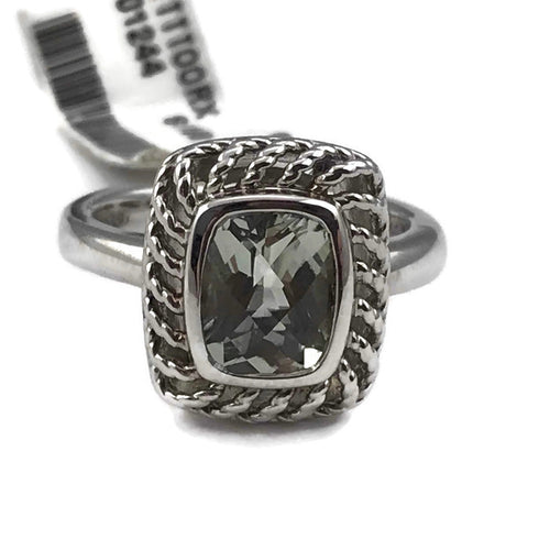 Colore Sg Green Amethyst Ring In Sterling Silver