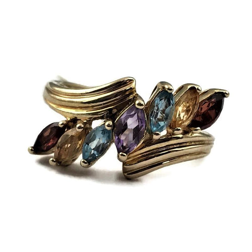 RJ Amethyst Topaz Citrine Garnet Gemstone Vintage Yellow Gold Ring Signed 10K Solid Gold