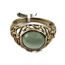 Light Green Jade Cabochon Filigree Ring in Solid 14k Yellow Gold