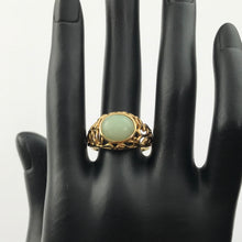 Light Green Jade Cabochon Filigree Ring in Solid 14k Yellow Gold, Pre-owned item  #269760B