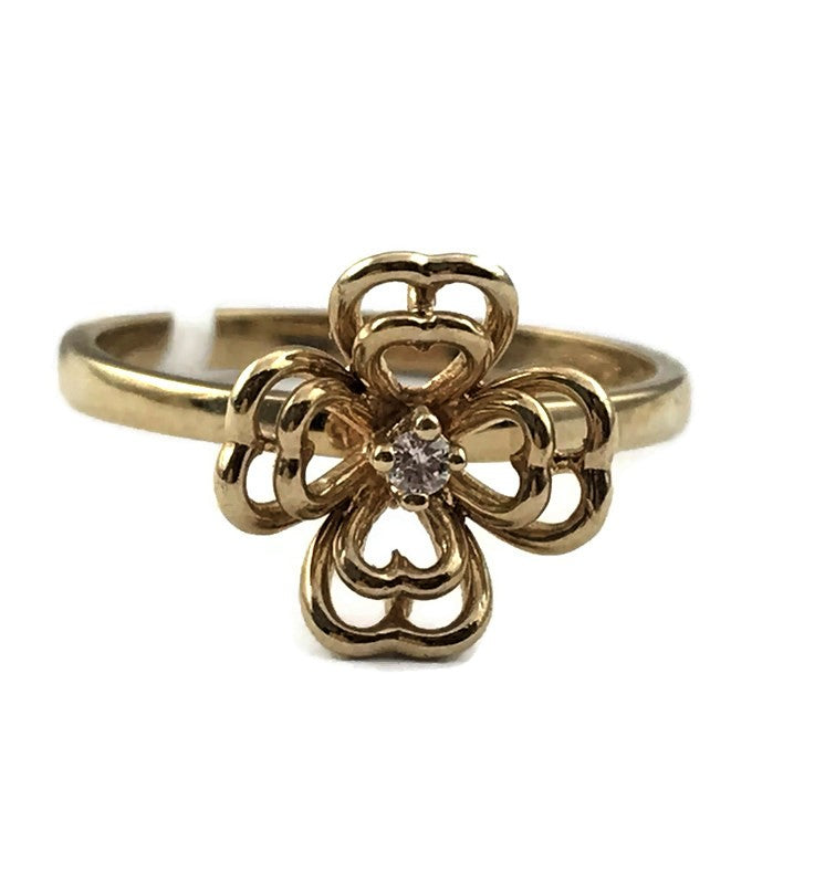 RWJ Clover Desigen Diamond Ring in 14K Yellow Gold