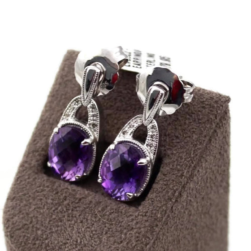 Colore Sg Sterling Silver Amethyst White Diamond Post Earrings, New item #LVE522-DAM