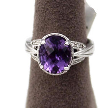 Colore Sg Sterling Silver Amethyst White Diamond Ring, New item #LVR522-DAM