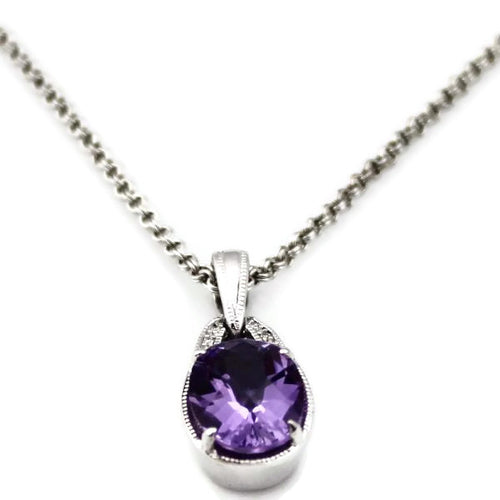 Colore Sg Sterling Silver Amethyst Diamond Necklace, New item #LVP522-DAM