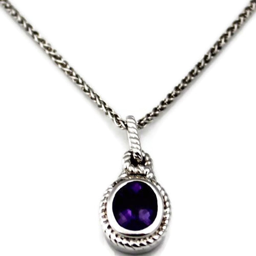 Colore Sg Sterling Silver Amethyst Necklace, New item #LVP553-AM