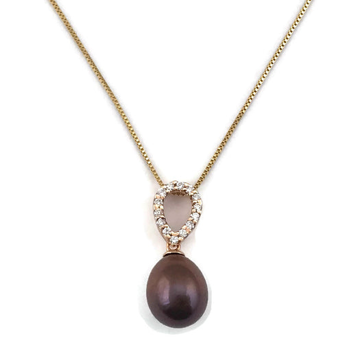 Pearl Diamond Necklace in 14K Yellow Gold