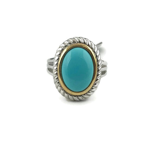 Colore Sg Sterling Silver & 18K Yellow Gold Turquoise Ring
