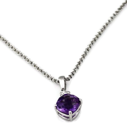Colore Sg Sterling Silver Amethyst Necklace, New item #LVP44-AM
