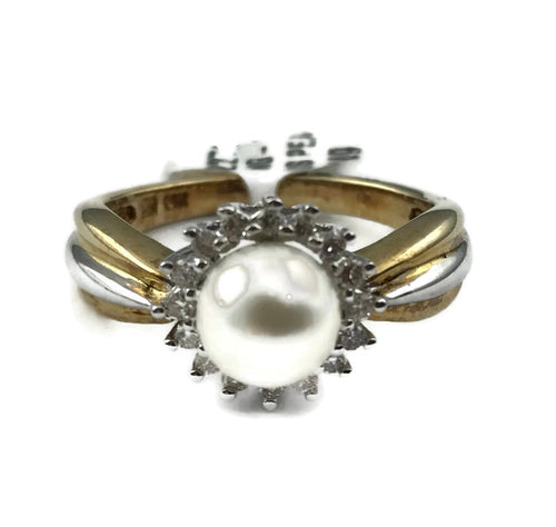 Pearl Diamond Halo Ring in14K Yellow/ White Gold