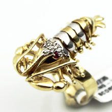 LADIES SCORPION ZODIAC DIAMOND RING 14KYW TWO TONE GOLD, this is Pre-Owned Item #300235