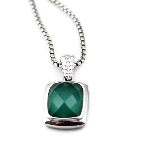 Colore Sg Sterling Silver Green Agate & Quartz Colore Fusion Necklace, New item #LVP514-FQGG