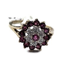 Ruby and Diamond Flower Ring in Solid 10K Yellow Gold, Pre-owned item #318550a