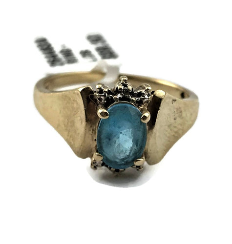10K Yellow Gold Blue Topaz Ring with Diamond Accents