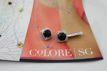 Colore Sg Sterling Silver Onyx Post Earrings, New item #LVE543-NX