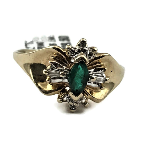 10k Yellow Gold Emerald Fancy Ring with Diamond Accents