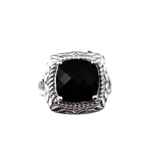 Colore Sg Sterling Silver Onyx Cocktail Ring,New item #LVR543-NX