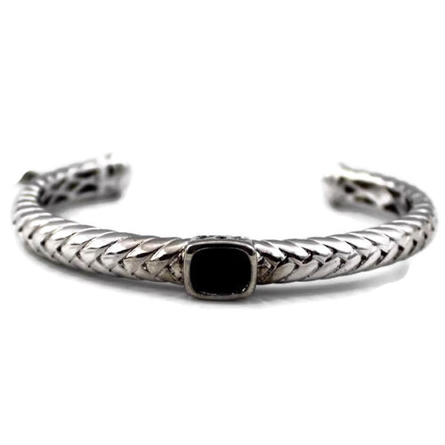 Colore Sg Sterling Silver and Black Onyx Bangle, New item #LVB440-NX