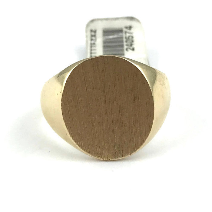 Men's Classic Oval Engravable Signet Ring in 14K Yellow Gold, Pre-owned item #240574