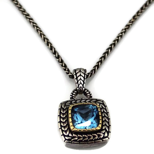 Colore Sg Sterling Silver, 18K Gold and Blue Topaz NECKLACE ,New item #ZP465-BTA
