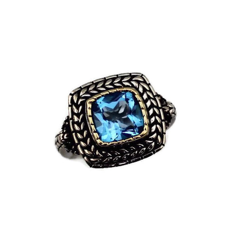 COLORE SG BLUE TOPAZ STERLING SILVER AND 18K YELLOW GOLD  RING, New item #LZR465-BTA