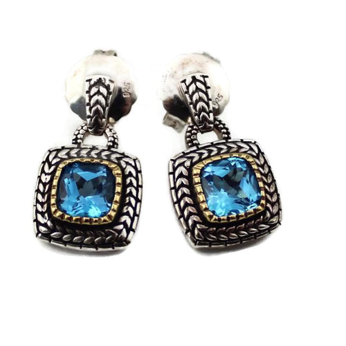 COLORE SG Sterling Silver Blue Topaz and 18K Yellow Gold Floret Post Earrings, New item #ZE465-BTA