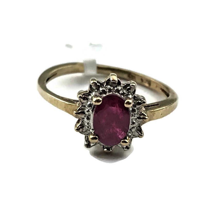 Ruby Diamond Ring In 10k Yellow Gold
