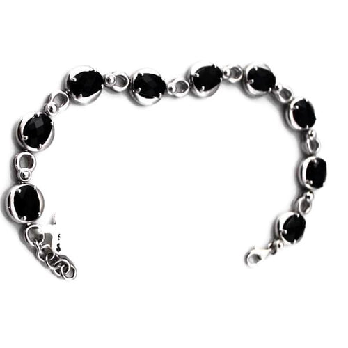 Colore Sg Sterling Silver Onyx Signature Bracelet Stock, New item #LVB546-NX