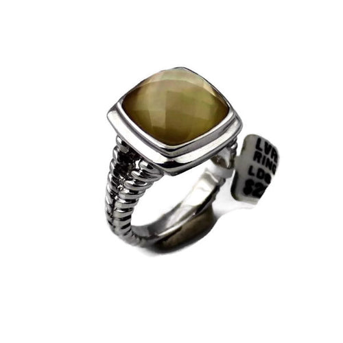 Colore Sg Sterling Silver White Quartz and Dyed Golden Ring, New item #LVR515-FQYS