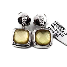 Colore Sg Sterling Silver White Quartz and Dyed Golden Earrings, New item #LVZ/MOP