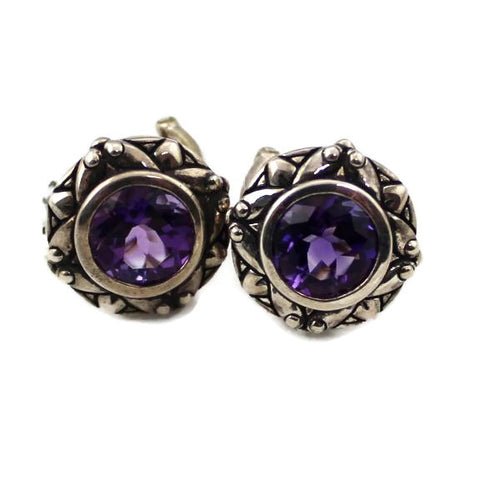 COLORE SG Amethyst Cairo Post Earrings, New item #LVE468-AMA