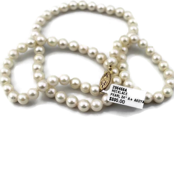 Akoya White Pearl Necklace A+/w 14k yellow gold filigree clasp 18
