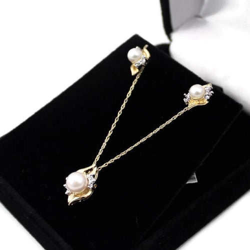 Pearl w/ Diamond Necklace & Earrings Set in 10K Yellow Gold #V56704B