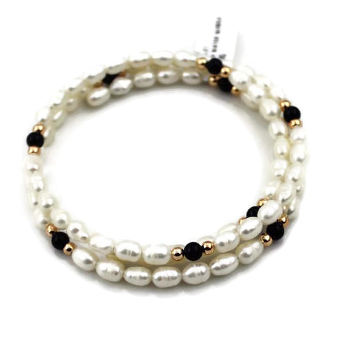 Fresh Water Pearl Bracelet with Gold Beads and Precious Stones #331897