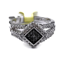 9 Black and 48 Single Cut White 1/2 TW Diamond Ring in 925 Sterling Silver