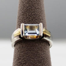 Colore Sg Lorenzo Sterling Silver & 18 Karat Yellow Gold Aquamarine Ring, New Iten #LZR029-AQ
