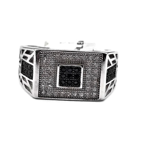 Men's 925 Sterling Silver Black and Clear CZ Fashion Ring