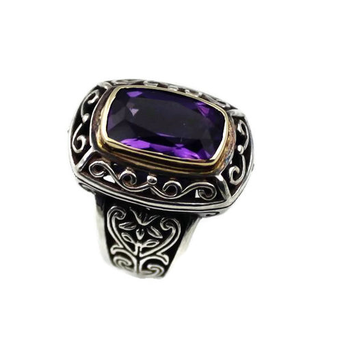 ARISTA STERLING SILVER & 18K YELLOW GOLD RECTANGLE AMETHYST ENGRAVED RING, New item#R10C