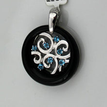 Colore Sg Sterling Silver Onyx & Blue Topaz pendant, New item #P403-BT