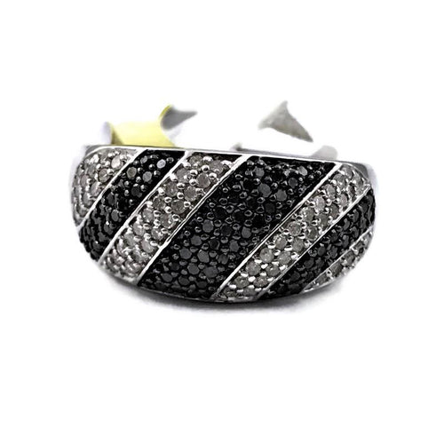 Ladies 925 Sterling Silver 64 Black and 54 White Diamond Fashion Ring