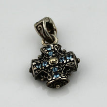 Arista Sterling Silver And 18K Yellow Gold Double Sided Blue Topaz Cross Charm/Pendant, New item #C-4 TOPAZ